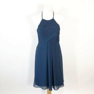 Azazie Navy Adriana Bridesmaid Dress A4 Halter Kne
